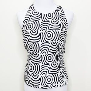 Sherrie Bloom Tops - Halter Black and white spiral print top